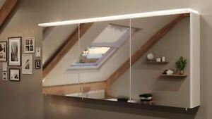 Spiegelschrank 140 cm LED Acrylglaslampe Weiß Spiegel Badezimmerspiegel modern
