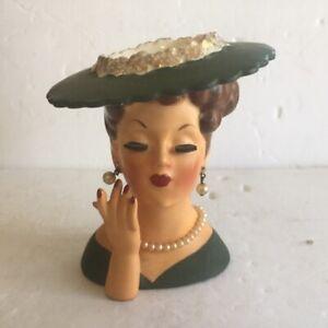 Vintage 1958 Lady Head Vase Napco C3343C Dark Green Dress & Hat .+ jewelry