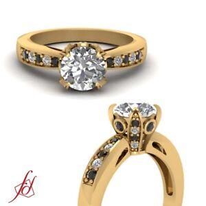 Round Cut White & Black Diamond High Set Engagement Ring In Yellow Gold 1.35 Ctw