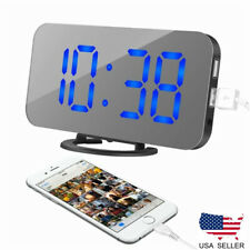 New LED Display Digital Alarm Clock Dimmable Mirror Modern USB Operated Snooze