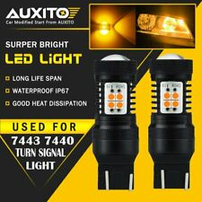 2 PC AUXITO 7443 7440 7444NA LED Amber Yellow Turn Signal Light bulb 14K USA EOA