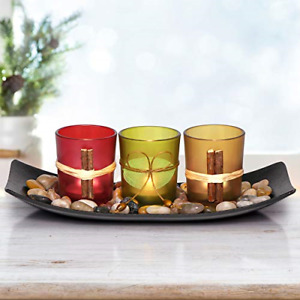 LETINE Cute Candle Holders Set Fit in LED Lights. Centerpieces for Coffee Table,