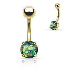 Belly Ring Gold Plate Opal Glitter Green Dark Gem Non Dangle Body Jewelry