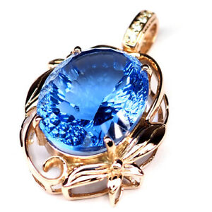 Tanzanite Blue Concave Oval Pendant 42.20 Ct. 925 Sterling Silver Rose Gold Gift