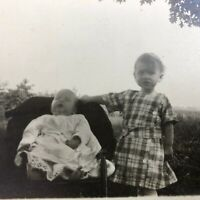 Antique 1912 RPPC Postcard Two Siblings Real Picture Photo 2 Babies Rural Farm