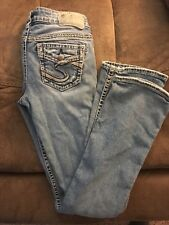 Women's SILVER AIKO FLAP BOOTCUT Thick Stitch Jeans Size 25 / 33