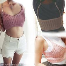 Womens Summer Vest Bra Bralet Crochet Crop-Top Camisole Tank Strappy Knit Tops