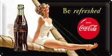 COCA COLA Blechschild XXL 25x50 cm BE REFRESHED PINUP  Schild Sign 27007