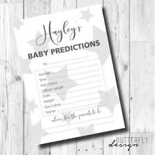 Grey Unisex Baby Shower Personalised Prediction Cards x 8