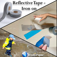 "IRON ON Reflective Tape Light Weight Silver Reflective Fabric 1"" x 328 ft (100m)"