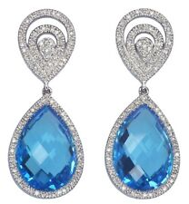 Blue Topaz and Diamond Gemstone Dangle 14ct White Gold Earrings