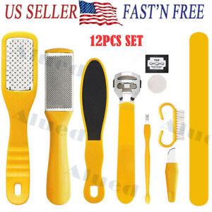 12PCS set Pedicure Kit Rasp Foot File Callus Remover Scraper Nail Care Tool kit