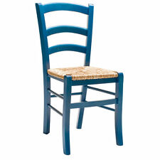 "Chaise Bois siège Paille couleur aniline bleu ""Paesana"""