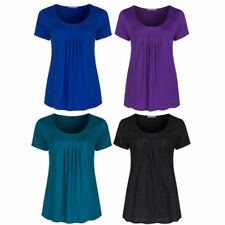 Short Sleeve Classic Tops & Shirts for Women with Pleated
