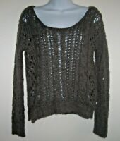 Free People Gray Open Weave Cable Knit Sweater Size XS Chunky Cropped Wool Blend