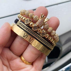 Men King Crown Charm Macrame Bracelets Gold Roman Numeral Stainless Steel Bangle