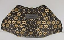 ALEXANDER MCQUEEN Flesh & Black Silk & Leather Clutch with Lace Pattern - NWT