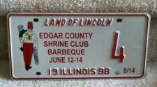 Illinois Specialty License Plate 1998 Edgar County Shrine Club Barbeque  #4