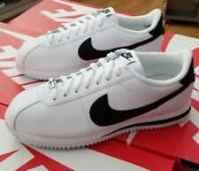 NIKE CORTEZ BASIC LEATHER 819719 100 WHITE/BLACK-METALLIC SILVER MEN US SZ 7.5