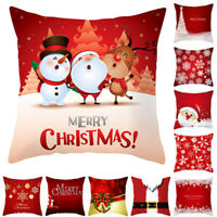 18'' Square Merry Christmas Velvet Cushion Cover Throw Pillow Case Sofa Decor