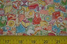 By 1/2 Yd, Purses on Cream Quilting Cotton, Tres Chic, Vintage Workshop, M7634