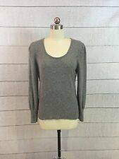 100% Pure Cashmere Sweater Womens XL Gray Scoop Neck Fitted Waist