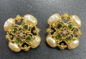 Vtg Elizabeth Taylor Avon Forever Violet Earrings Runway Rare Signed Jewelry