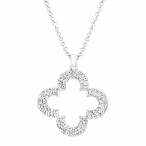 Marie Claire Clover Pendant Necklace Swarovski Crystals  Sterling Silver Plated