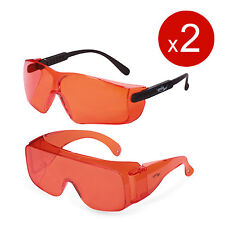 Set of ORANGE Lens Safety Glasses for Red Blue Laser UV Light Protection
