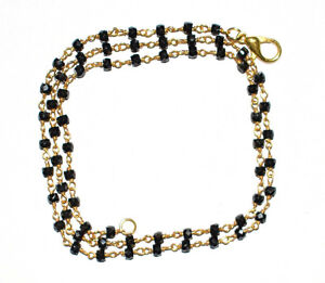 Strand Glossy Zircon 3 mm Gold Plated Wire Faceted Rosary Beads Neckalce TF212