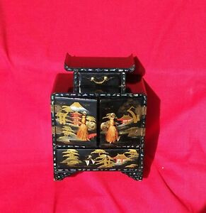 Vintage Japanese Black Lacquer Hand painted Mother of Pearl Inlay Jewelry Box