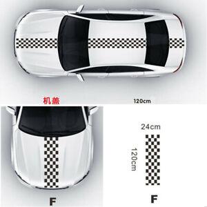 1x Car SUV Black & White Checkered Racing Styling Vinyl Decal Sticker Waterproof