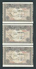 F.C. BANCO DE BILBAO , TRIO CORRELATIVO 25 PESETAS 1937 , EBC+ .