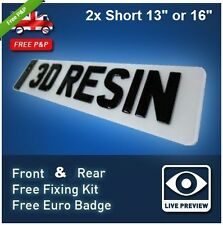 PAIR Short 13'' or 16'' Black Gel Resin UK Number Plates 20b (5 or 6 Character)
