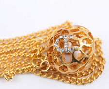 Hot Ladies Fashion Elegant Double Golden Hollow Ball Pendant Long Chain Necklace