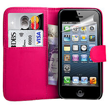 New For Apple iPhone 4 5 5C & SE Leather Wallet Book Magnetic Flip Case Cover