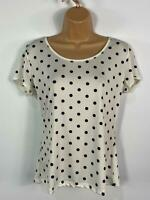 BNWT WOMENS DOLLY & DOTTY GINA WHITE/BLACK POLKA DOT SHORT SLEEVE TOP SIZE UK 16