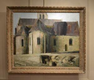 BEAUTIFUL MID 20TH CENTURY OIL ON CANVAS 'L'EGLISE LANGEAIS' BY BERNARD KAY