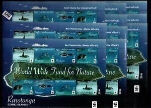 // 10X RAROTONGA 2016 - MNH - WWF - FISH - WHOLESALE