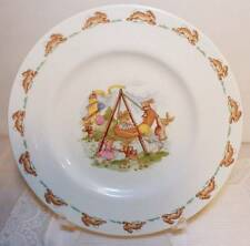 "ROYAL DOULTON BUNNYKINS 1936 SALAD CHILD'S PLATE 8.25""  SWING SCENE"