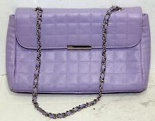 Pamela McCoy Handbag Shoulder Bag Purse Quilted Lilac Purple Leather excellent
