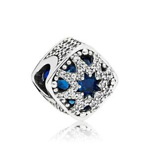 1Pcs Silver European Cz Charm Blue Crystal Spacer Beads Fit Necklace Bracelet L0
