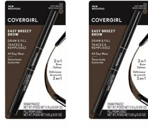 Lot of 2 CoverGirl Easy Breezy Brow Draw & Fill Pencil - 300 Soft Brown