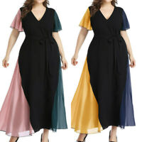 Women Plus Size Sexy V-Neck Lace Up Short Sleeve Patchwork Party Long Dress P