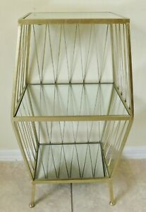 """Beautiful Vintage 29"""" Gold Iron 3 Shelf Mirrored Display Side/End Accent Table"""