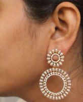 Indian White Pearl New Design Gold Jhumka Earrings Ethnic Wedding Jewelry Set
