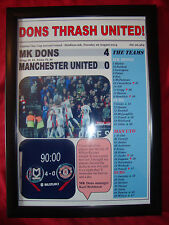 MK Dons 4 Manchester United 0 - 2014 Capital One Cup - framed print
