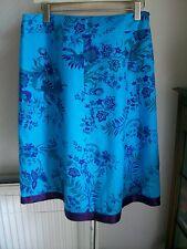 "100% Linen Turquoise/Purple Skirt, Size 16, Length 27"", M&S, BNWT"