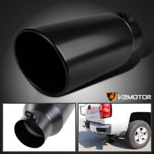 "4"" Inlet 6"" Outlet 15"" Long Black Stainless Steel Roll Edge Truck Exhaust Tip"