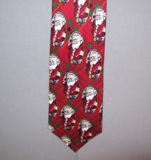 "Robert Stock SANTA ON SCOTTISH PRINT Holiday Red Silk 56"" Neck Tie #696"